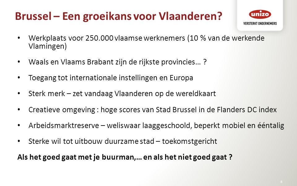 Brussel – Een groeikans voor Vlaanderen? © Unizo8 Werkplaats voor 250.000 vlaamse werknemers (10 % van de werkende Vlamingen) Waals en Vlaams Brabant