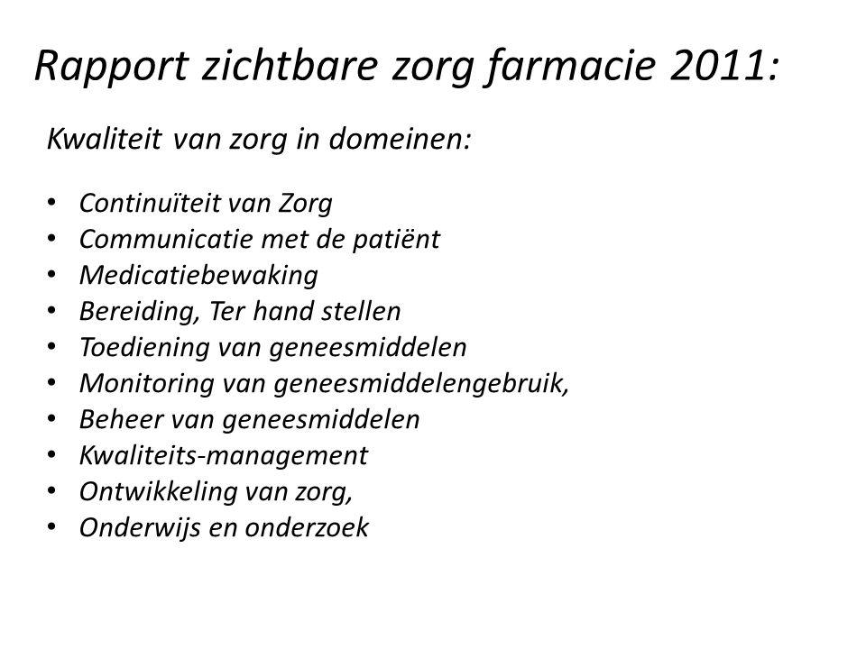 Rapport zichtbare zorg farmacie 2011: Kwaliteit van zorg in domeinen: Continuïteit van Zorg Communicatie met de patiënt Medicatiebewaking Bereiding, T