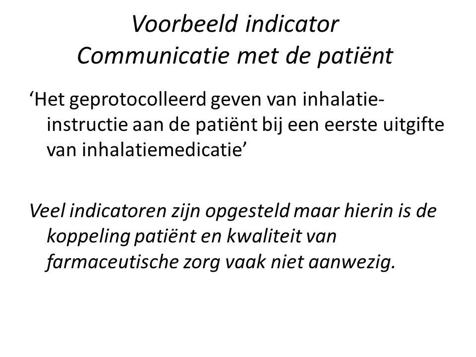 Voorbeeld indicator Communicatie met de patiënt 'Het geprotocolleerd geven van inhalatie- instructie aan de patiënt bij een eerste uitgifte van inhala