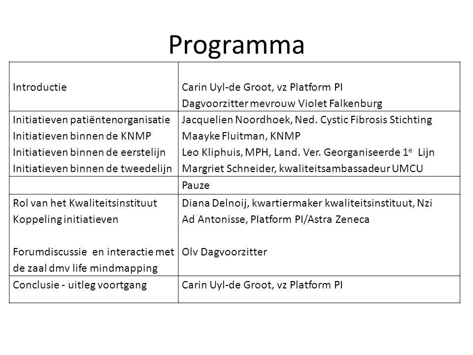 Programma Introductie Carin Uyl-de Groot, vz Platform PI Dagvoorzitter mevrouw Violet Falkenburg Initiatieven patiëntenorganisatie Initiatieven binnen