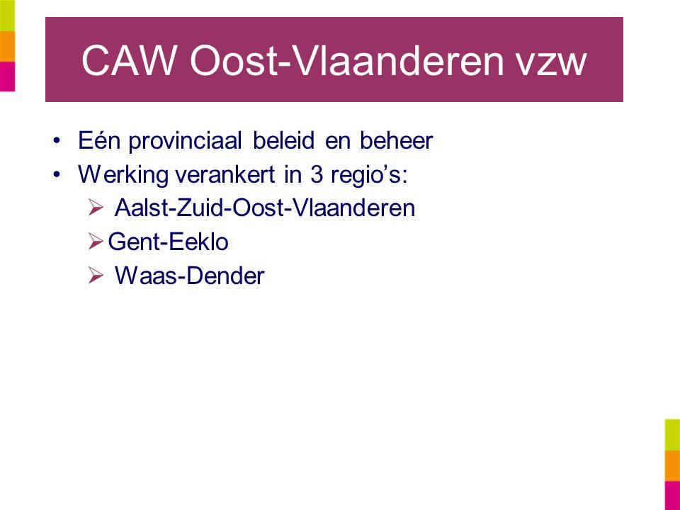 CAW Oost-Vlaanderen vzw Eén provinciaal beleid en beheer Werking verankert in 3 regio's:  Aalst-Zuid-Oost-Vlaanderen  Gent-Eeklo  Waas-Dender