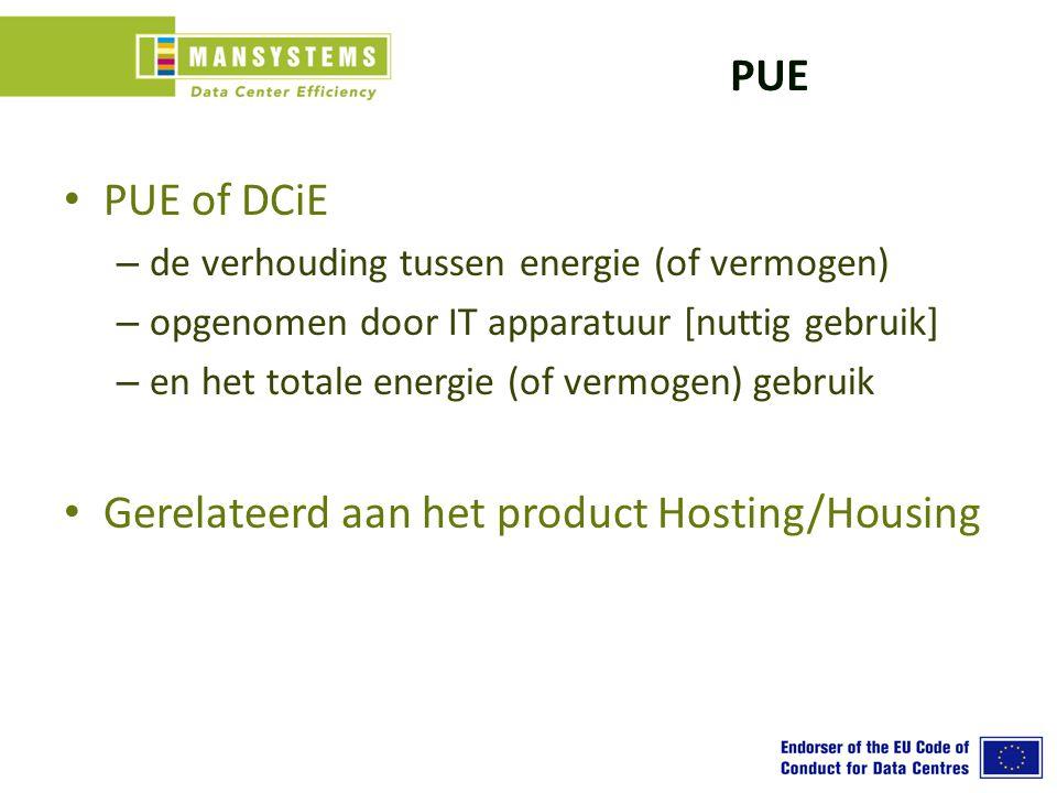 PUE PUE of DCiE – de verhouding tussen energie (of vermogen) – opgenomen door IT apparatuur [nuttig gebruik] – en het totale energie (of vermogen) gebruik Gerelateerd aan het product Hosting/Housing
