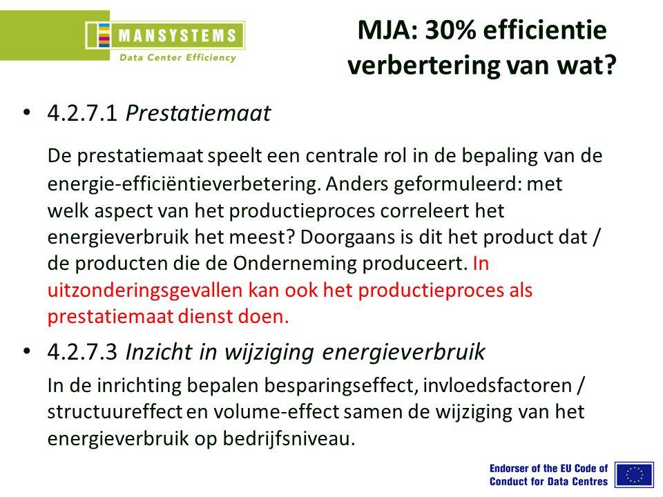 MJA: 30% efficientie verbertering van wat? 4.2.7.1 Prestatiemaat De prestatiemaat speelt een centrale rol in de bepaling van de energie-efficiëntiever
