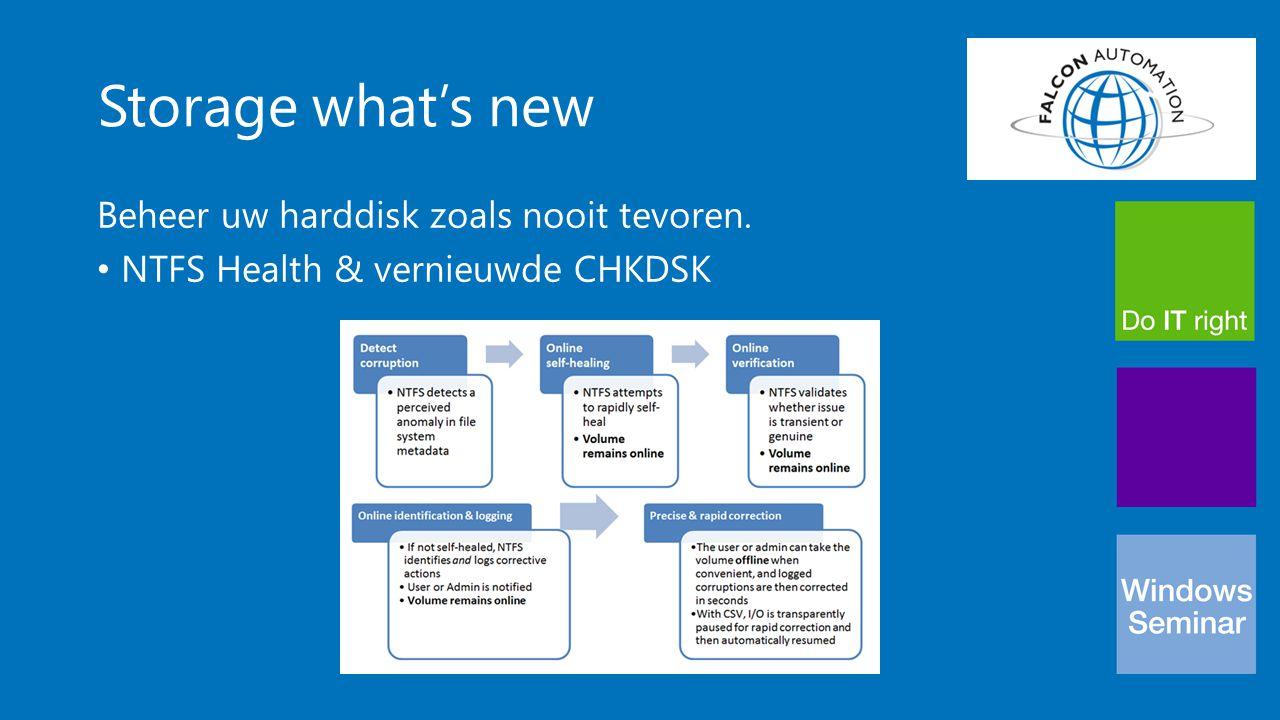Storage what's new Beheer uw harddisk zoals nooit tevoren. NTFS Health & vernieuwde CHKDSK