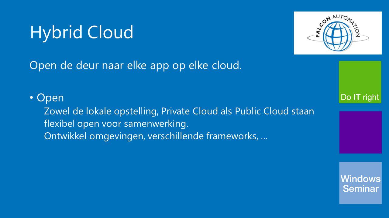 Hybrid Cloud Open de deur naar elke app op elke cloud. Open Zowel de lokale opstelling, Private Cloud als Public Cloud staan flexibel open voor samenw