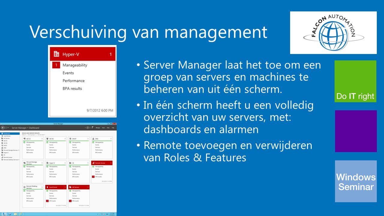Verschuiving van management Server Manager laat het toe om een groep van servers en machines te beheren van uit één scherm. In één scherm heeft u een