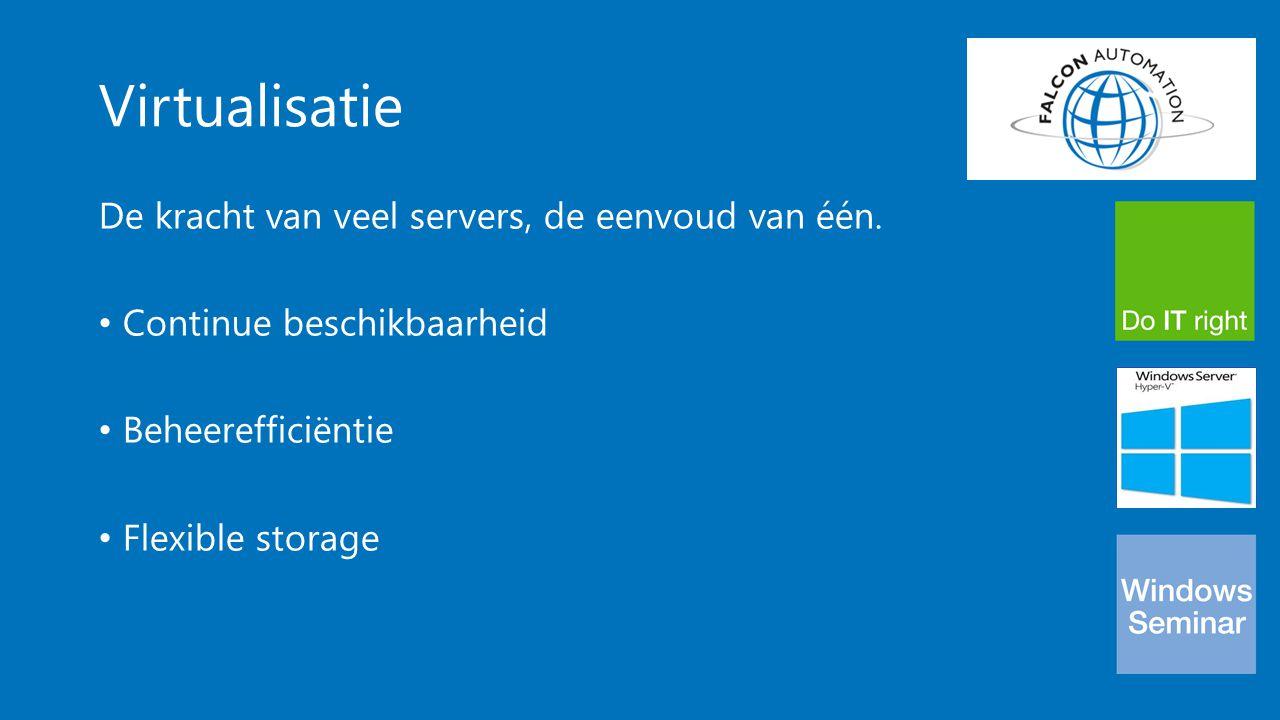 Virtualisatie De kracht van veel servers, de eenvoud van één. Continue beschikbaarheid Beheerefficiëntie Flexible storage