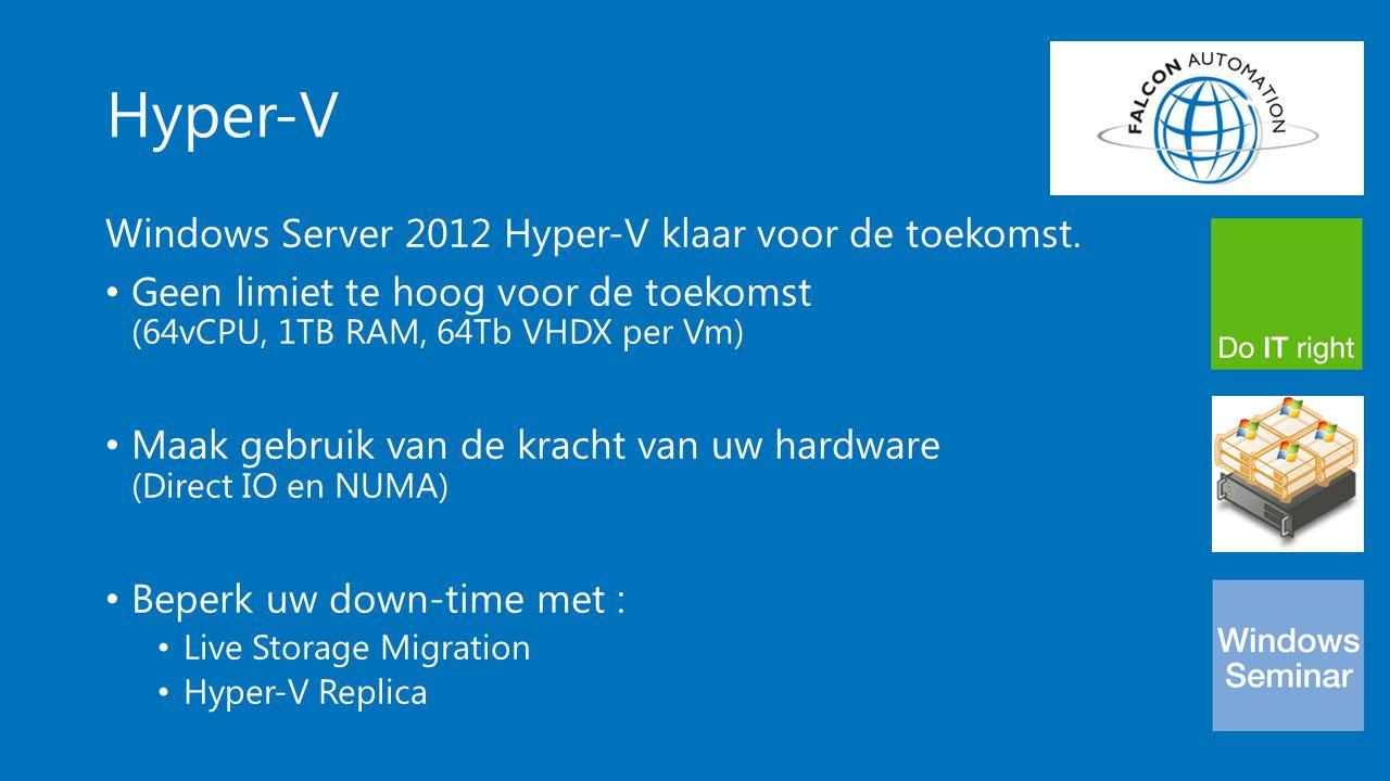Hyper-V Windows Server 2012 Hyper-V klaar voor de toekomst. Geen limiet te hoog voor de toekomst (64vCPU, 1TB RAM, 64Tb VHDX per Vm) Maak gebruik van