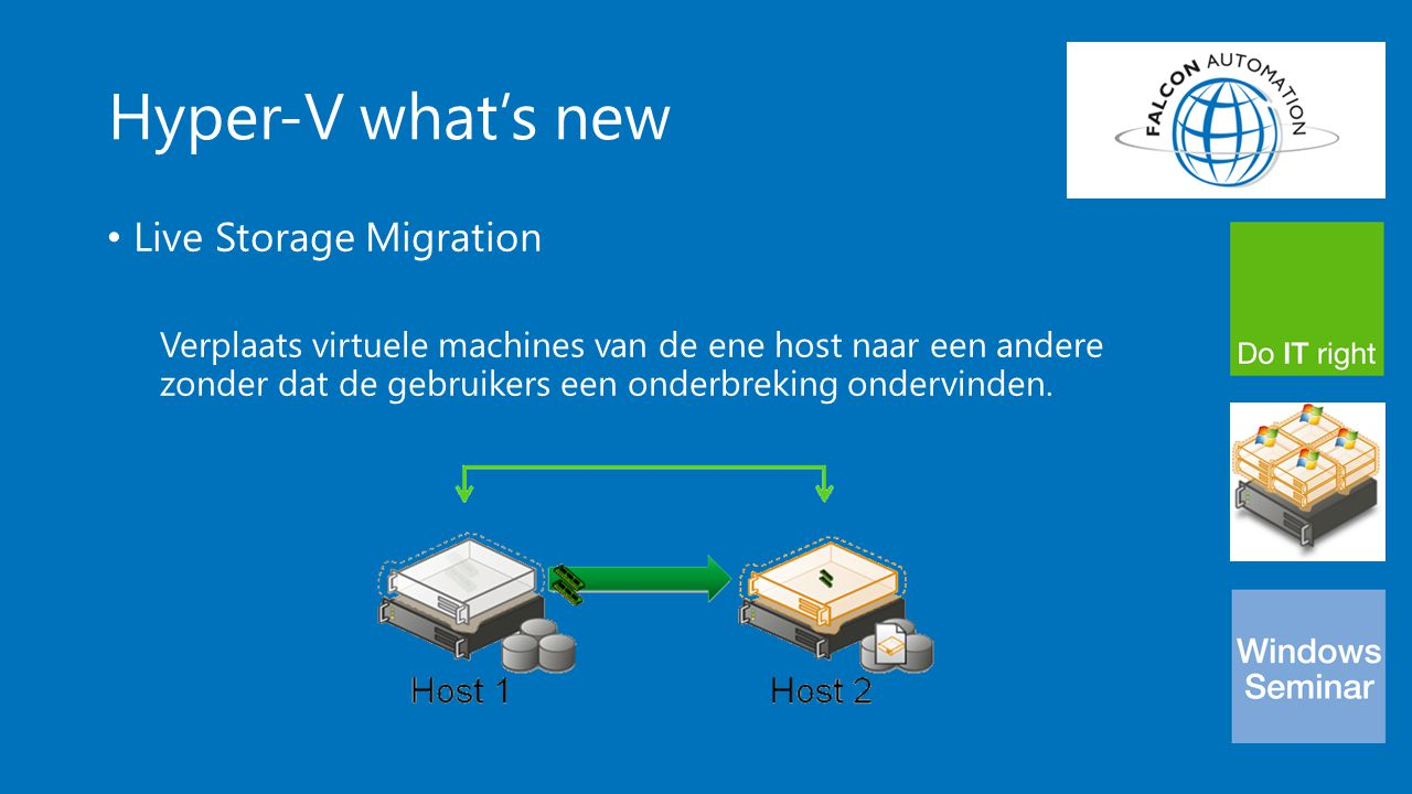 Hyper-V what's new Live Storage Migration Verplaats virtuele machines van de ene host naar een andere zonder dat de gebruikers een onderbreking ondervinden.