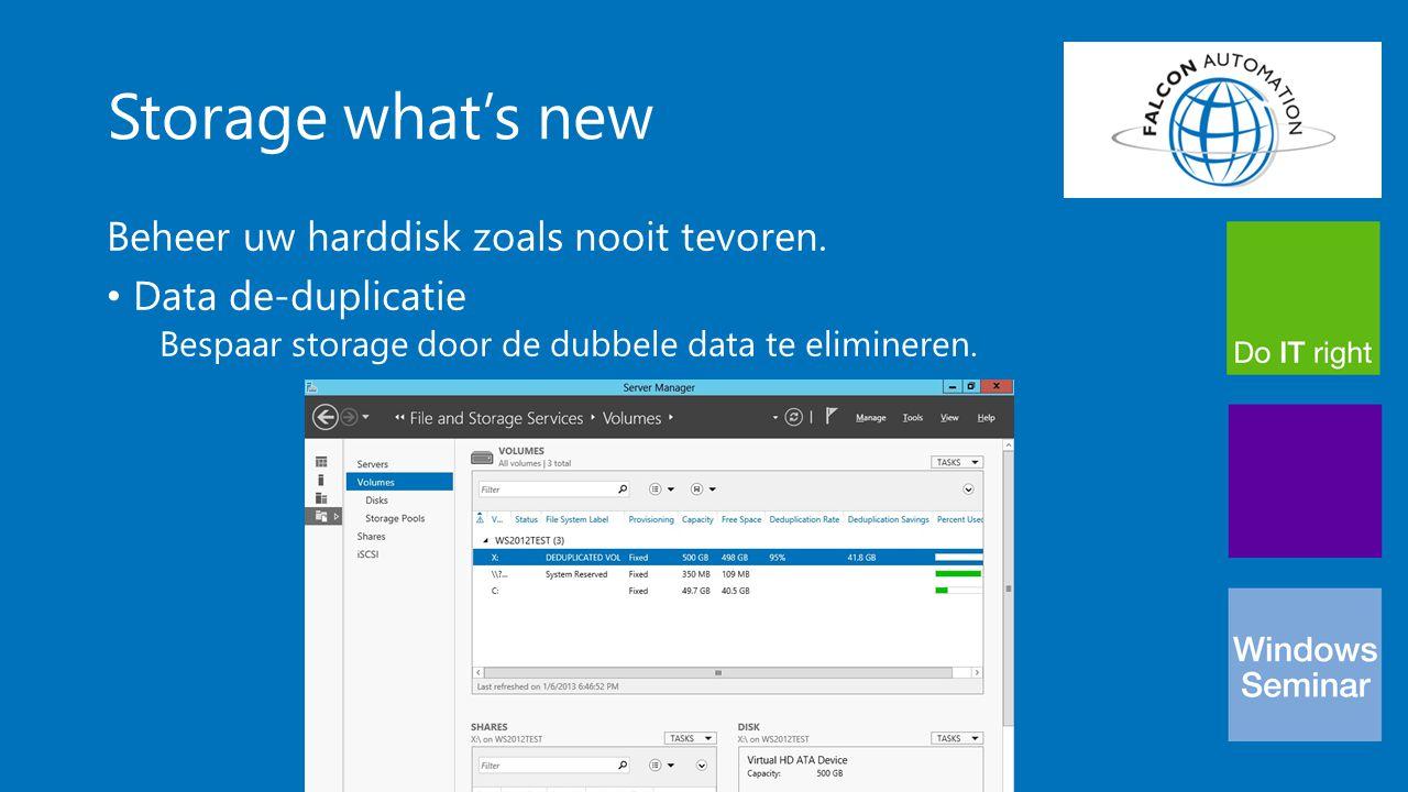 Storage what's new Beheer uw harddisk zoals nooit tevoren. Data de-duplicatie Bespaar storage door de dubbele data te elimineren.