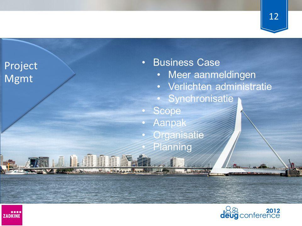 12 Project Mgmt Business Case Meer aanmeldingen Verlichten administratie Synchronisatie Scope Aanpak Organisatie Planning