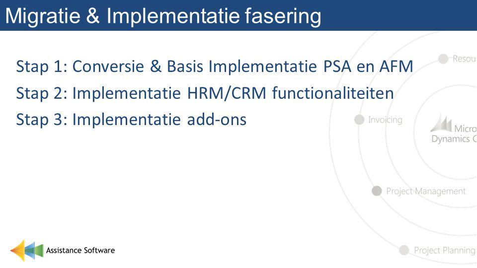 Migratie & Implementatie fasering Stap 1: Conversie & Basis Implementatie PSA en AFM Stap 2: Implementatie HRM/CRM functionaliteiten Stap 3: Implementatie add-ons
