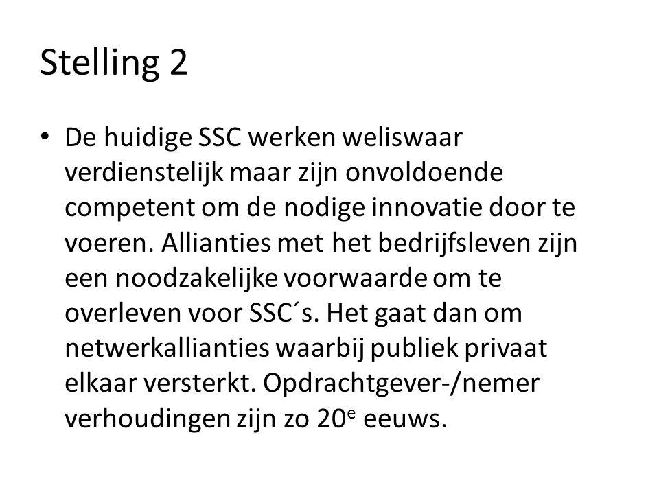 Stelling 2 De huidige SSC werken weliswaar verdienstelijk maar zijn onvoldoende competent om de nodige innovatie door te voeren.