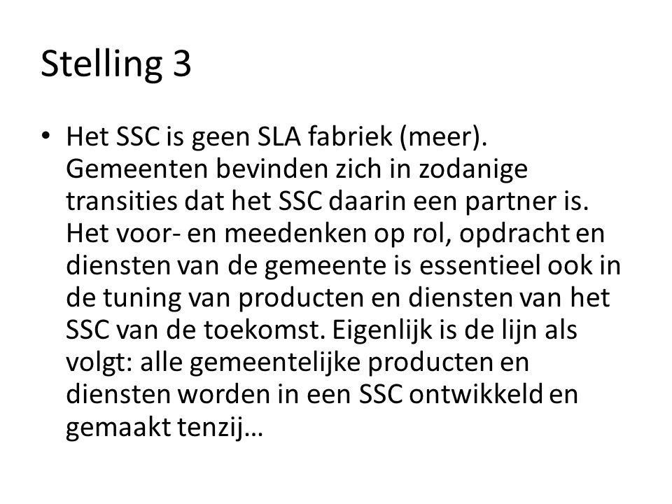 Stelling 3 Het SSC is geen SLA fabriek (meer).