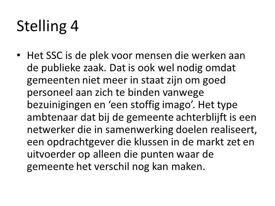 Stelling 4 Het SSC is de plek voor mensen die werken aan de publieke zaak.