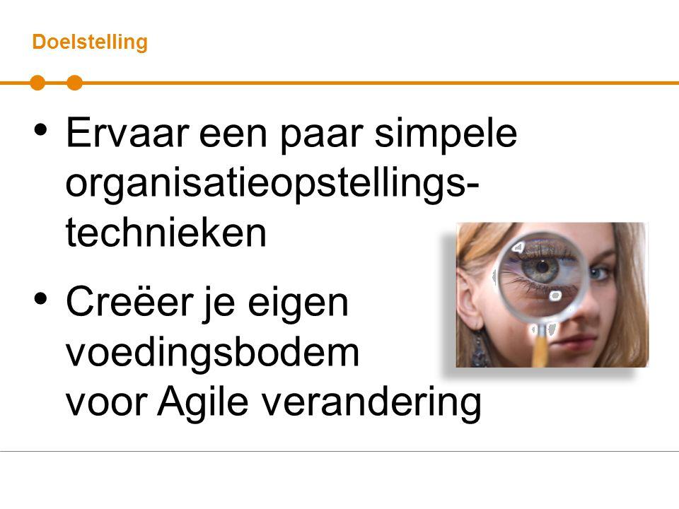Doelstelling Ervaar een paar simpele organisatieopstellings- technieken Creëer je eigen voedingsbodem voor Agile verandering