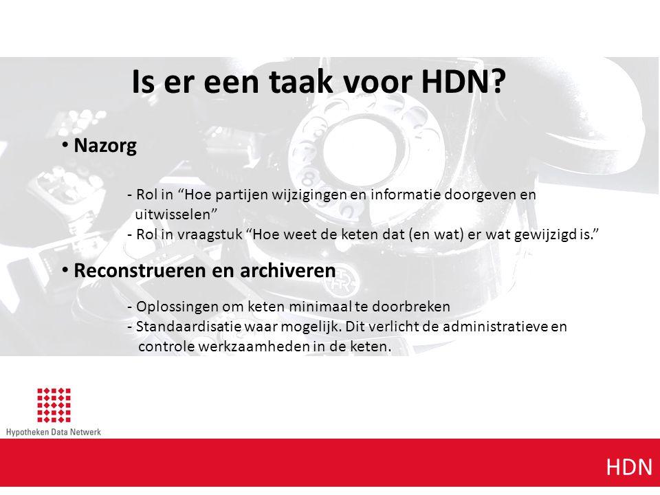 """Agenda punt 1 HDN Is er een taak voor HDN? Nazorg - Rol in """"Hoe partijen wijzigingen en informatie doorgeven en uitwisselen"""" - Rol in vraagstuk """"Hoe w"""