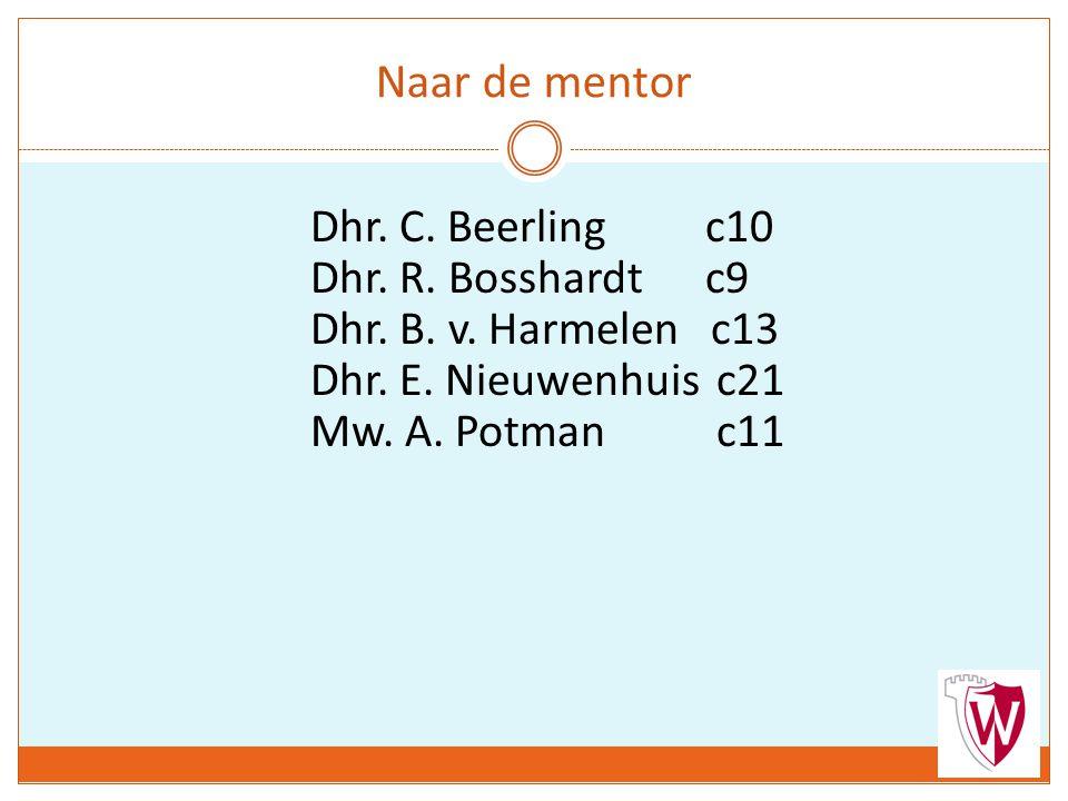 Naar de mentor Dhr. C. Beerlingc10 Dhr. R. Bosshardtc9 Dhr. B. v. Harmelen c13 Dhr. E. Nieuwenhuis c21 Mw. A. Potman c11