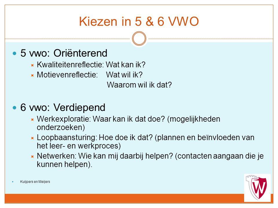 Kiezen in 5 & 6 VWO 5 vwo: Oriënterend  Kwaliteitenreflectie: Wat kan ik?  Motievenreflectie: Wat wil ik? Waarom wil ik dat? 6 vwo: Verdiepend  Wer