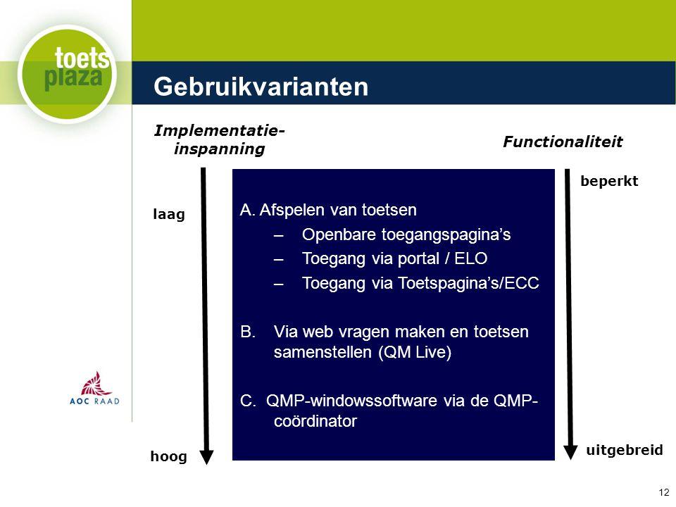 Expertiseteam Toetsenbank Gebruikvarianten Implementatie- inspanning Functionaliteit beperkt uitgebreid A. Afspelen van toetsen –Openbare toegangspagi