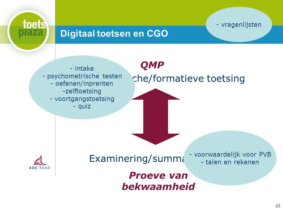 Expertiseteam Toetsenbank Digitaal toetsen en CGO Examinering/summatieve toetsing Proeve van bekwaamheid QMP Diagnostische/formatieve toetsing - intak