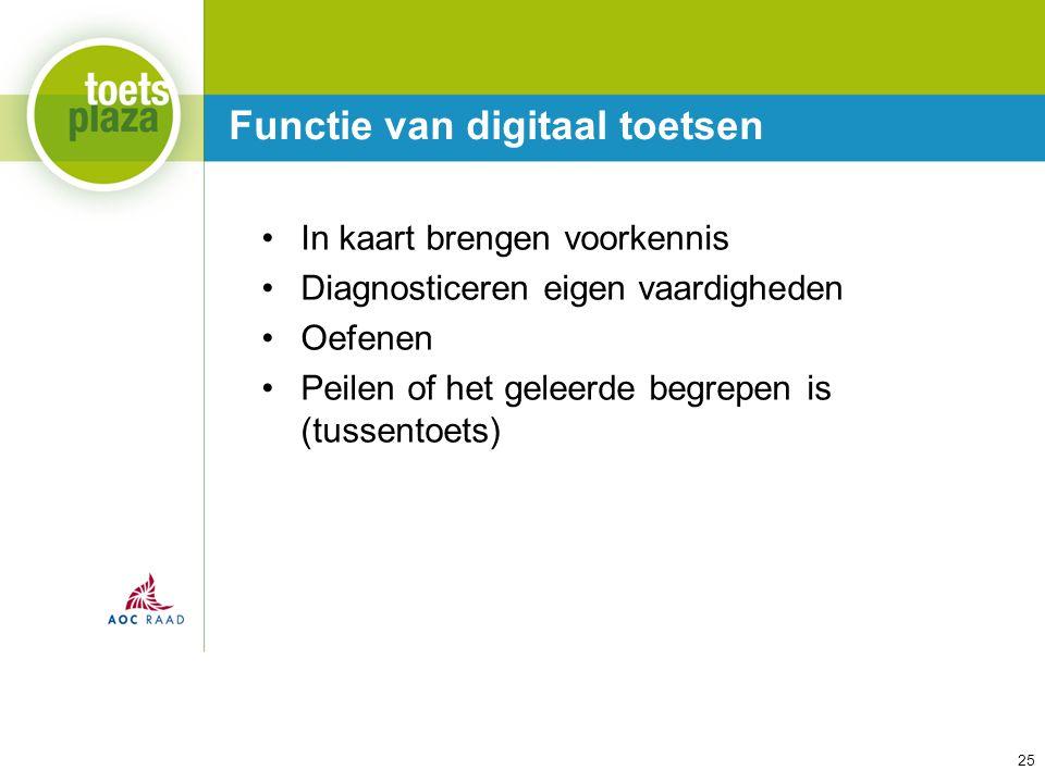Expertiseteam Toetsenbank Functie van digitaal toetsen 25 In kaart brengen voorkennis Diagnosticeren eigen vaardigheden Oefenen Peilen of het geleerde begrepen is (tussentoets)