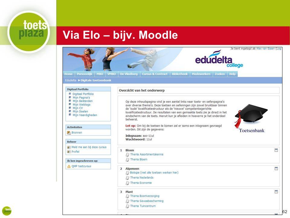 Expertiseteam Toetsenbank Via Elo – bijv. Moodle 62