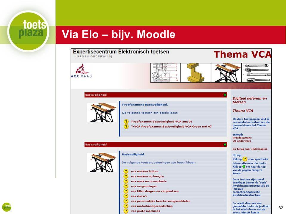 Expertiseteam Toetsenbank Via Elo – bijv. Moodle 63