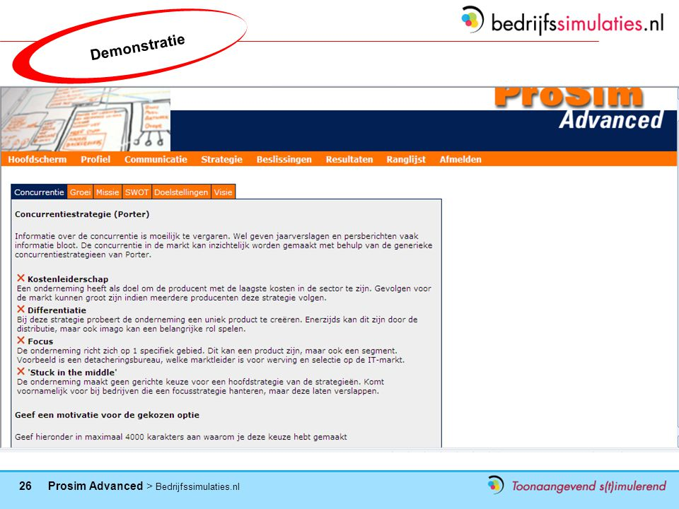 26 Prosim Advanced > Bedrijfssimulaties.nl Demonstratie