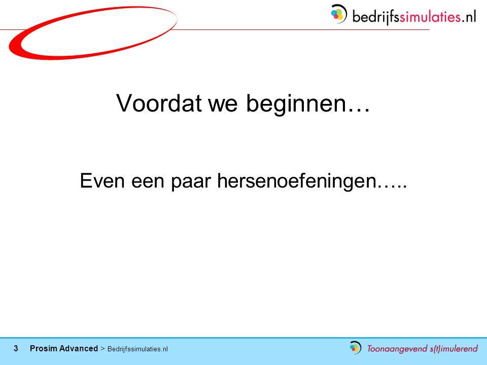 3 Prosim Advanced > Bedrijfssimulaties.nl Voordat we beginnen… Even een paar hersenoefeningen…..