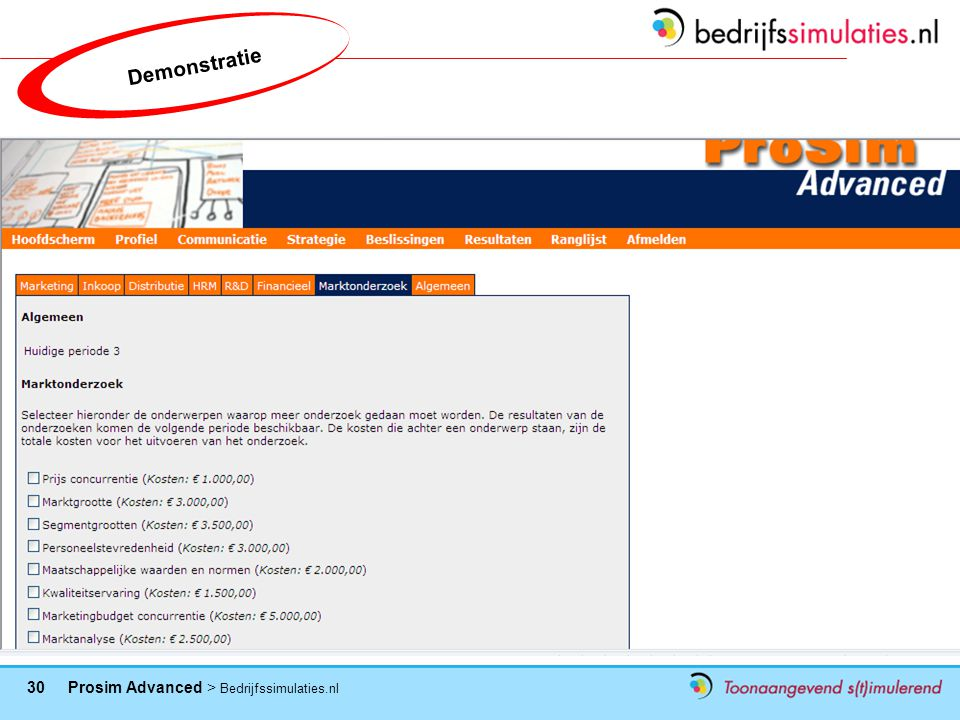 30 Prosim Advanced > Bedrijfssimulaties.nl Demonstratie