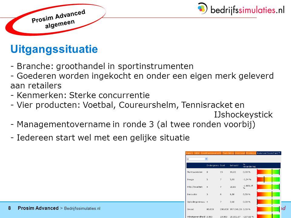9 Prosim Advanced > Bedrijfssimulaties.nl Werking van het spel - Het spel wordt online gespeeld (elke team krijgt een eigen inlogcode) - Bij het begin moet je: -Bestaande gegevens analyseren (cijfers ronden 1 en 2) -Het bedrijf een eigen naam geven -De producten een 'brand name' geven -Een eigen bedrijfsstrategie formuleren (!!) -Taken/functies verdelen -Het spel wordt in ronden gespeeld (in totaal 7) -Voor elke ronde zal de deadline voor invoer van beslissingen bekend worden gemaakt (schema volgt nog) Prosim Advanced algemeen