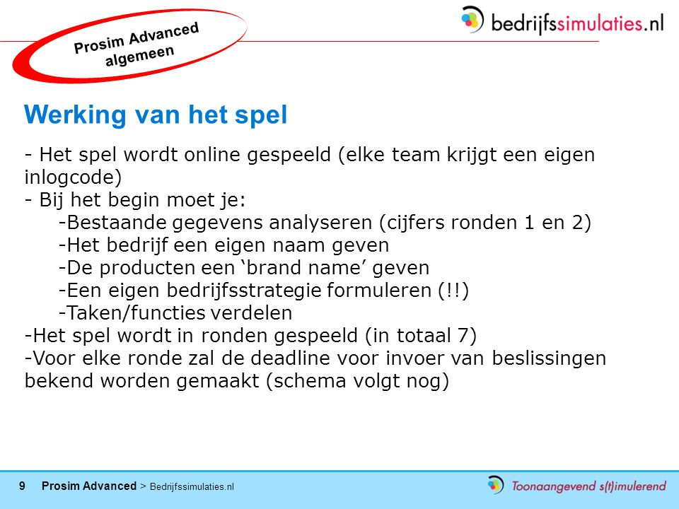 20 Prosim Advanced > Bedrijfssimulaties.nl 2012 Winners Winners…