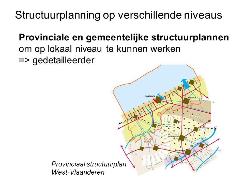 Provinciale en gemeentelijke structuurplannen om op lokaal niveau te kunnen werken => gedetailleerder Structuurplanning op verschillende niveaus Provi