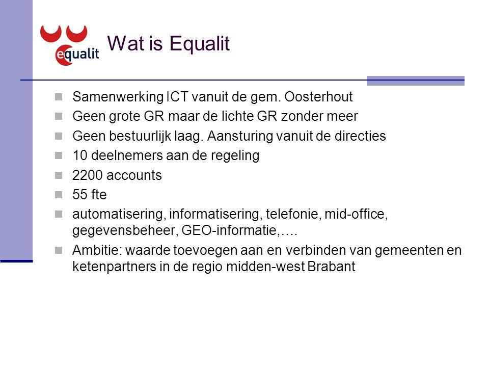 Wat is Equalit Samenwerking ICT vanuit de gem. Oosterhout Geen grote GR maar de lichte GR zonder meer Geen bestuurlijk laag. Aansturing vanuit de dire