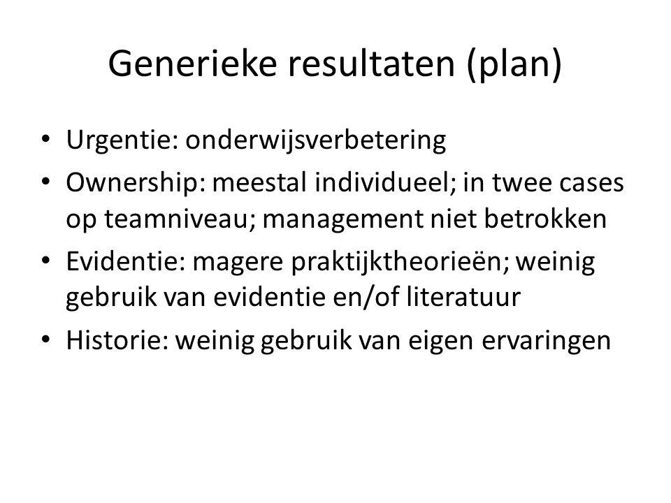 Generieke resultaten (plan) Urgentie: onderwijsverbetering Ownership: meestal individueel; in twee cases op teamniveau; management niet betrokken Evid