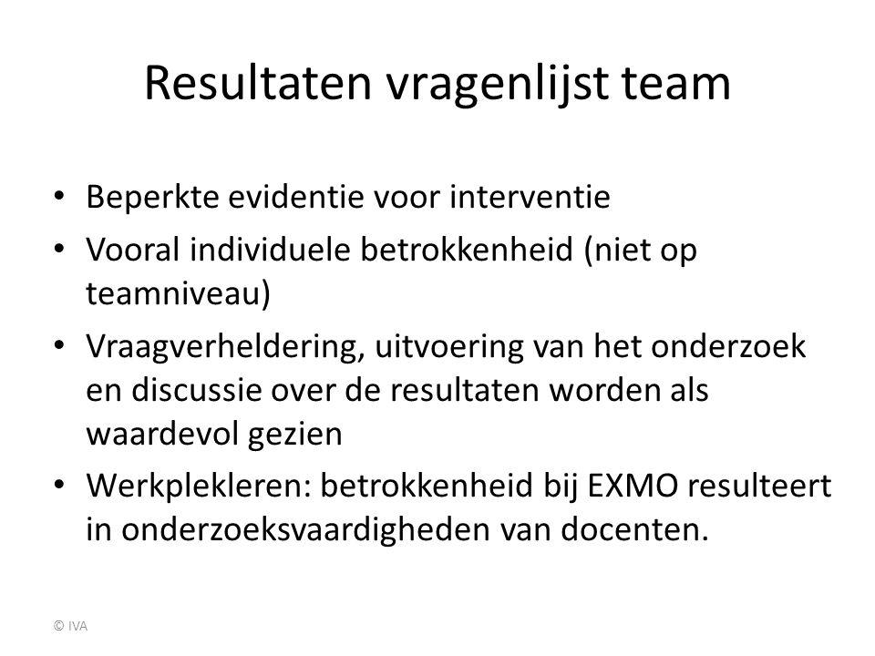 Resultaten vragenlijst team Beperkte evidentie voor interventie Vooral individuele betrokkenheid (niet op teamniveau) Vraagverheldering, uitvoering va