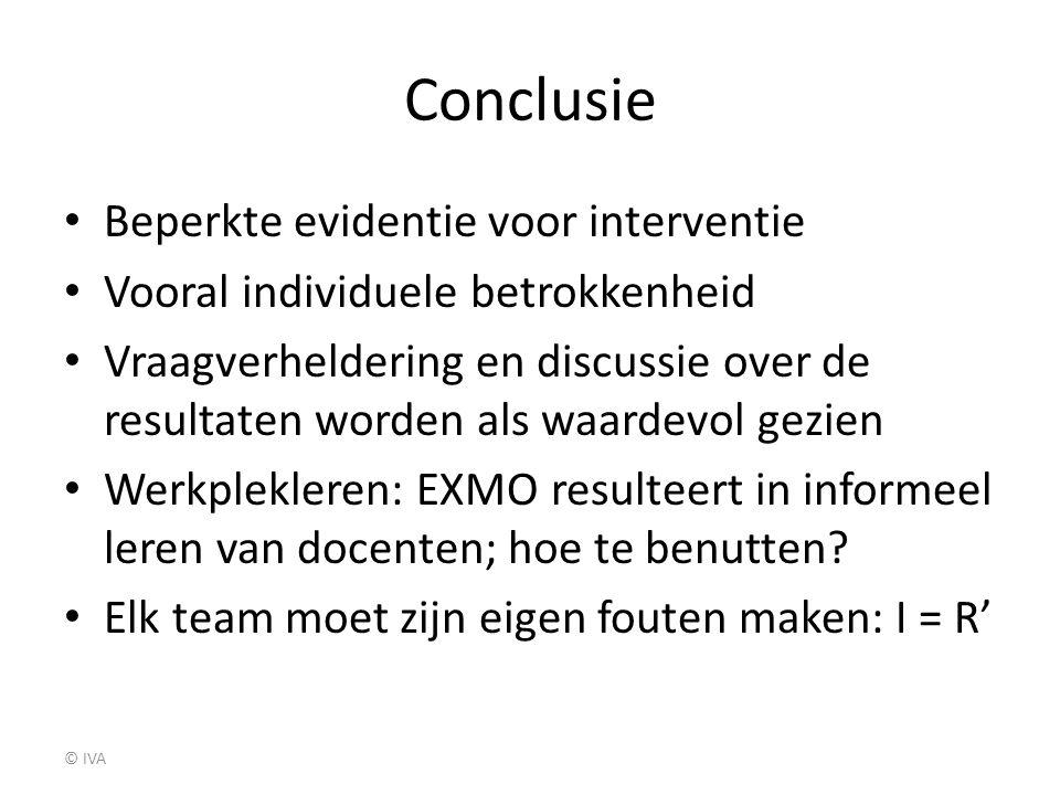 Conclusie Beperkte evidentie voor interventie Vooral individuele betrokkenheid Vraagverheldering en discussie over de resultaten worden als waardevol
