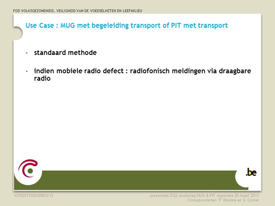 FOD VOLKSGEZONDHEID, VEILIGHEID VAN DE VOEDSELKETEN EN LEEFMILIEU ICM/2013/MUGREG/12 Use Case : MUG met begeleiding transport of PIT met transport -st