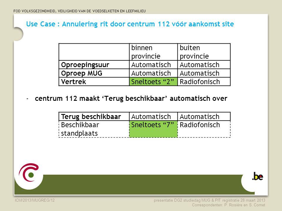 FOD VOLKSGEZONDHEID, VEILIGHEID VAN DE VOEDSELKETEN EN LEEFMILIEU ICM/2013/MUGREG/12 Use Case : Annulering rit door centrum 112 vóór aankomst site -ce