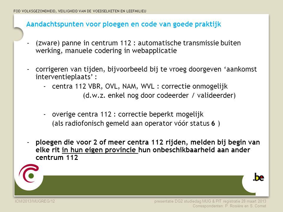 FOD VOLKSGEZONDHEID, VEILIGHEID VAN DE VOEDSELKETEN EN LEEFMILIEU ICM/2013/MUGREG/12 Aandachtspunten voor ploegen en code van goede praktijk -(zware)