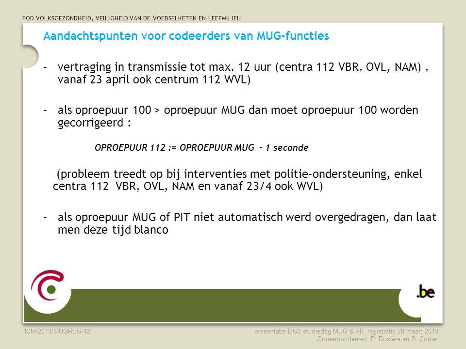 FOD VOLKSGEZONDHEID, VEILIGHEID VAN DE VOEDSELKETEN EN LEEFMILIEU ICM/2013/MUGREG/12 Aandachtspunten voor codeerders van MUG-functies -vertraging in t