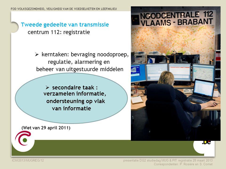 FOD VOLKSGEZONDHEID, VEILIGHEID VAN DE VOEDSELKETEN EN LEEFMILIEU ICM/2013/MUGREG/12 Tweede gedeelte van transmissie centrum 112: registratie  kernta
