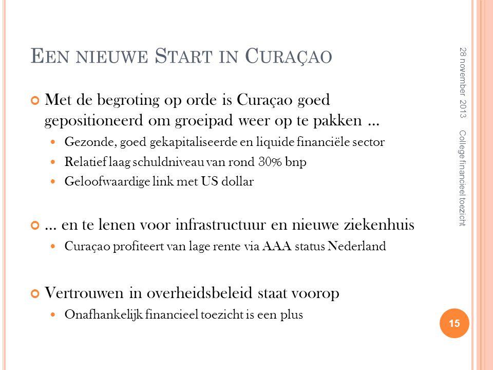E EN NIEUWE S TART IN C URAÇAO Met de begroting op orde is Curaçao goed gepositioneerd om groeipad weer op te pakken...