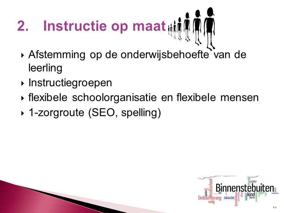 12  Afstemming op de onderwijsbehoefte van de leerling  Instructiegroepen  flexibele schoolorganisatie en flexibele mensen  1-zorgroute (SEO, spel