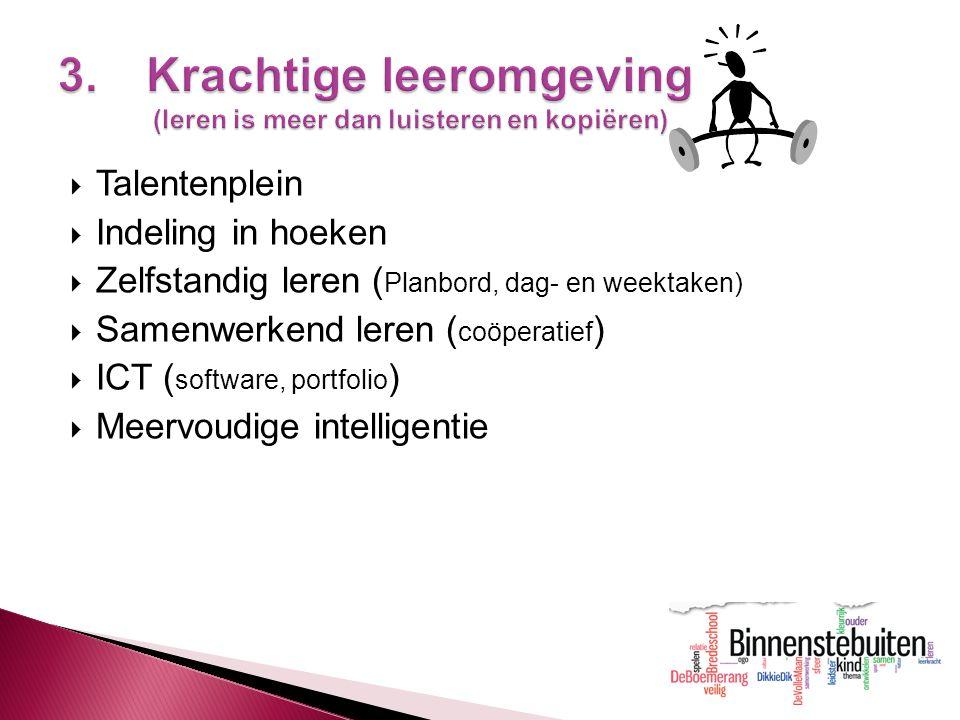 13  Talentenplein  Indeling in hoeken  Zelfstandig leren ( Planbord, dag- en weektaken)  Samenwerkend leren ( coöperatief )  ICT ( software, port