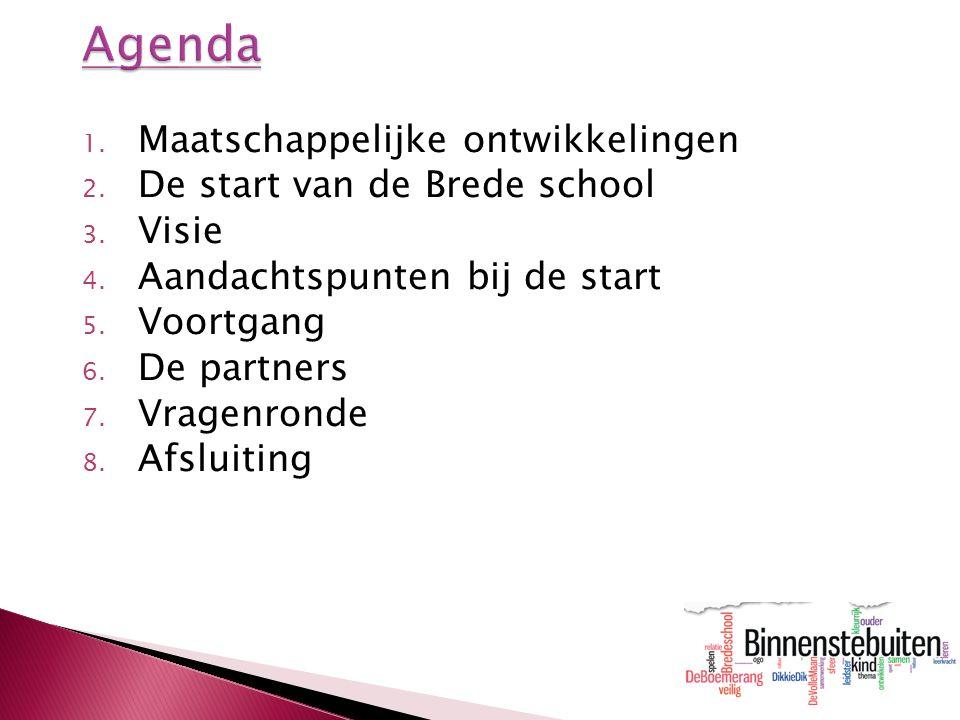 1. Maatschappelijke ontwikkelingen 2. De start van de Brede school 3. Visie 4. Aandachtspunten bij de start 5. Voortgang 6. De partners 7. Vragenronde
