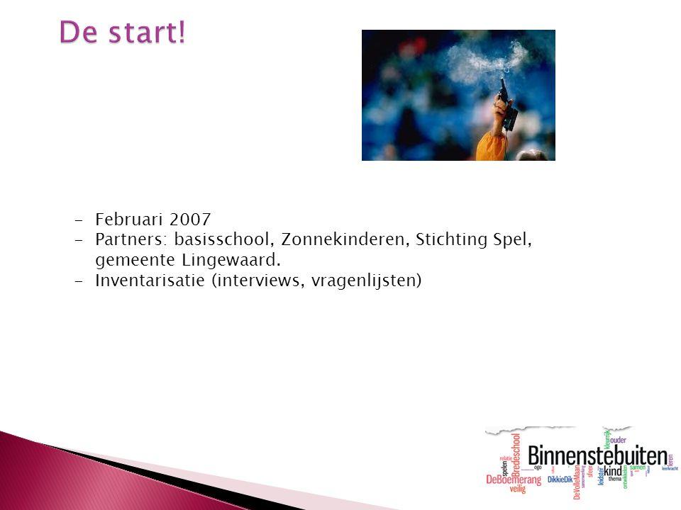 -Februari 2007 -Partners: basisschool, Zonnekinderen, Stichting Spel, gemeente Lingewaard. -Inventarisatie (interviews, vragenlijsten)