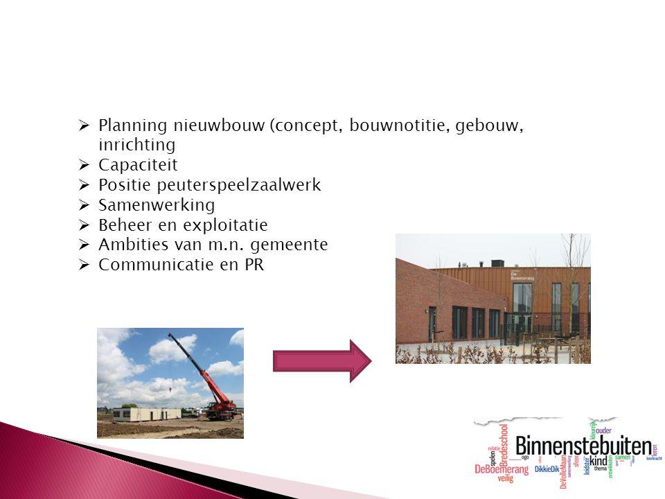  Planning nieuwbouw (concept, bouwnotitie, gebouw, inrichting  Capaciteit  Positie peuterspeelzaalwerk  Samenwerking  Beheer en exploitatie  Amb