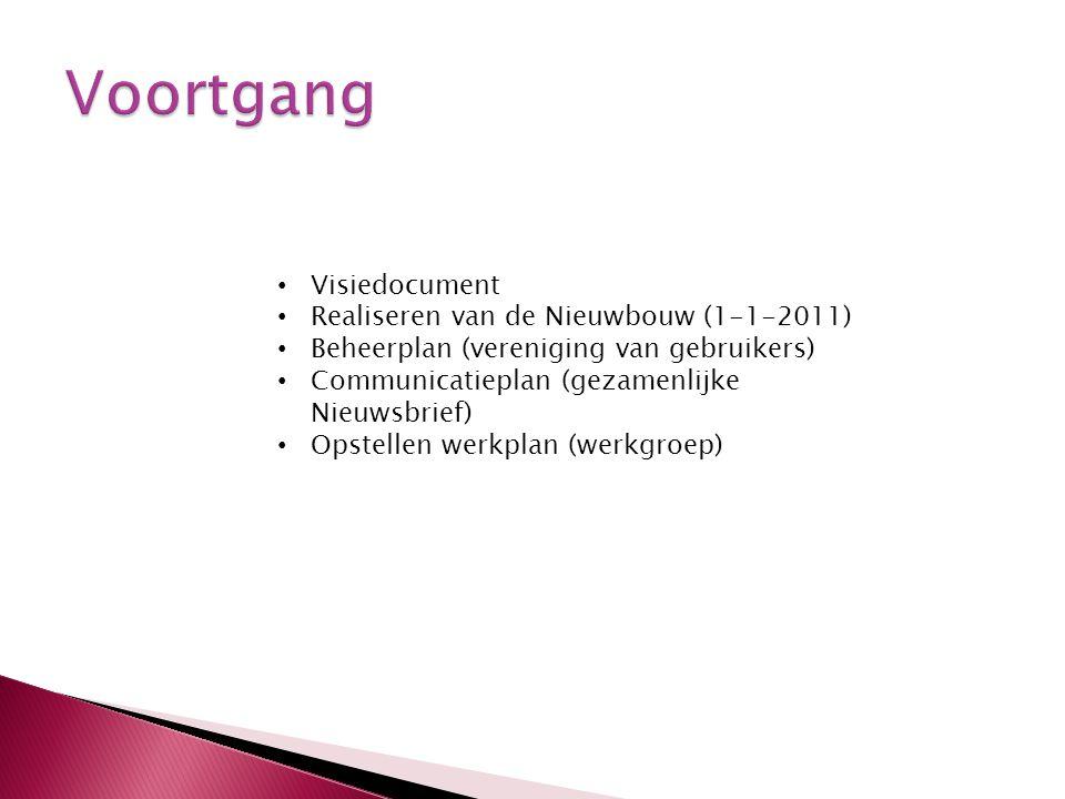 Visiedocument Realiseren van de Nieuwbouw (1-1-2011) Beheerplan (vereniging van gebruikers) Communicatieplan (gezamenlijke Nieuwsbrief) Opstellen werk